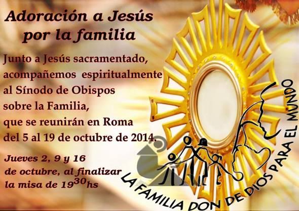 Adoración a Jesús por la familia